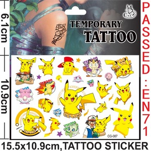 2PCS/lot temporary tattoo sticker of Pokemon, clever pikachu, stickers for children party present, kids birthday present(China)