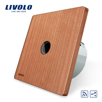 Livolo Original EU Standard 1Gang 2 Way Remote Switch Wireless Switch VL C701SR 21 Cherry Wood