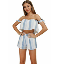 Summer Strapless Ladies 2 Piece Set Casual Navel Club Sexy Clothes Striped Bow Off Shoulder Matching Sets Party 2019 Mini Shorts
