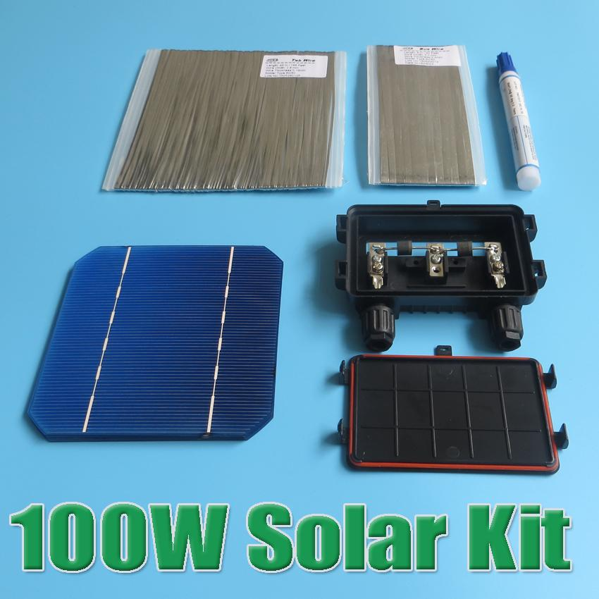 Hot Sale 100W DIY Solar Panel Kit 5x5 125 Monocrystalline 100Watt Mono solar cell tab wire Bus wire Flux pen Junction Box WY high efficiency solar cell 100pcs grade a solar cell diy 100w solar panel solar generators