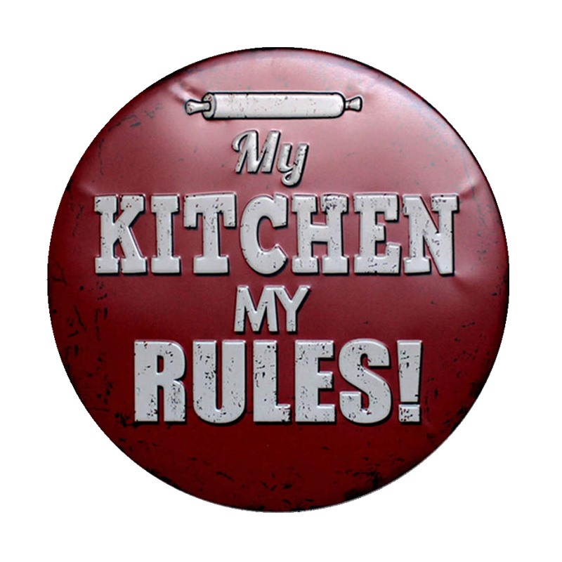 US $8.58 35% OFF|MY KITCHEN MY RULES Vintage Decor Round Meta Sign  Decorative Plates Wall Coffee Bar Pub Car Garage Bathroom Decorations-in  Plaques & ...