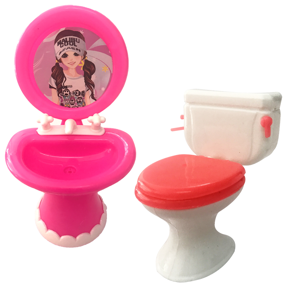 NK 2pcs/set 1 Closestool +1 Washbasin Toilet Wash Devices For Barbie Doll & Kelly Doll's House Furniture Doll Accessories DZ