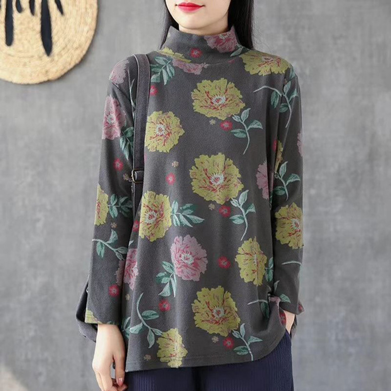 Camiseta de manga larga de mujer Harajuku con estampado de flores gruesas de cuello alto de invierno 2019 camiseta negra de algodón para mujer
