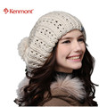 New Kenmont Winter Autumn Women Caps Hats Of  Beige Red Yellow 100% Hand Knit  Icelandic Wool Ski Beanie Fashion 1149