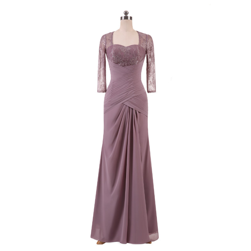 W.JOLI Long Evening Dress Elegant Lace Pleat Bride Banquet Floor-length Prom Gown lavender Purple Vintage Wedding Party Dress 5
