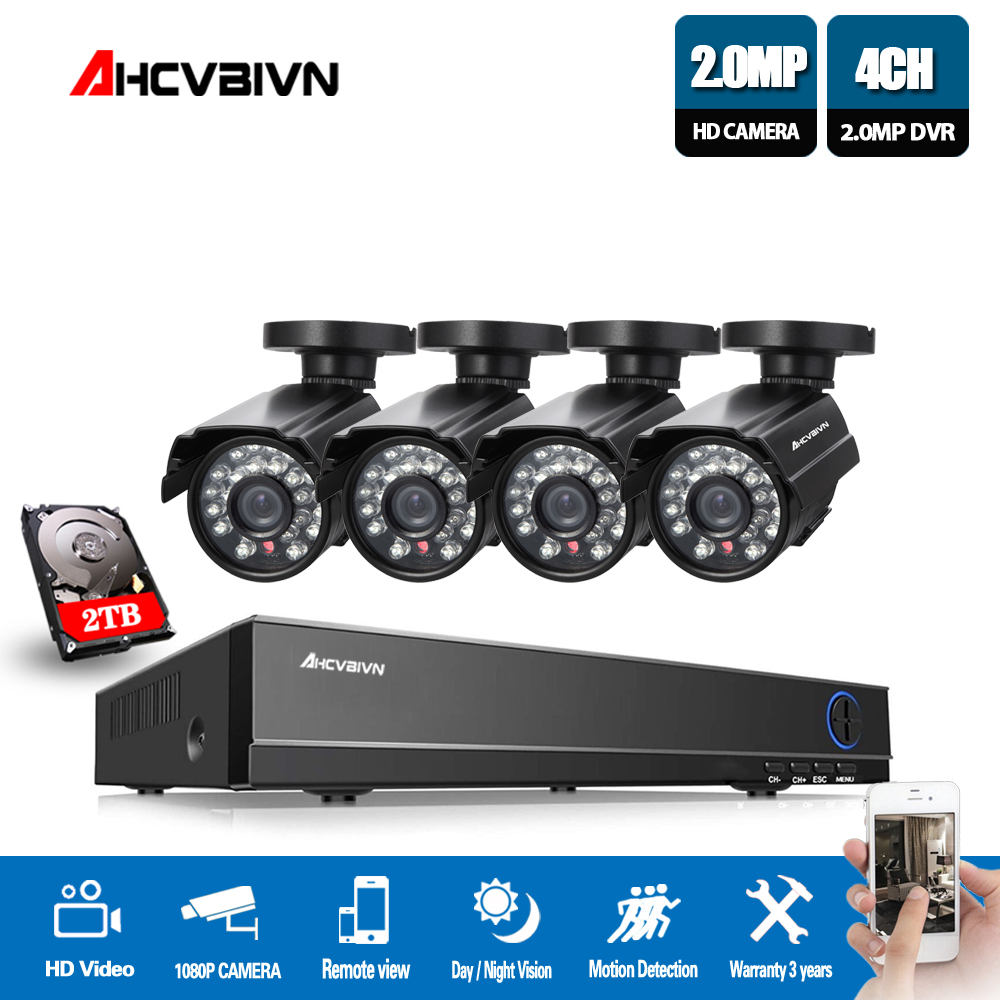 AHCVBIVN HDMI 1080P DVR 4CH AHD 1080N NVR CCTV security camera system 4 PCS IR indoor video surveillance Camera kits|Surveillance System| |  - title=