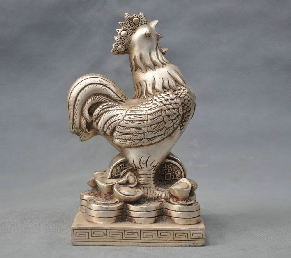 """7/""""Chinese Pure Silver Carving Money Wealth Yuanbao Chicken Animal Statue Antique"""