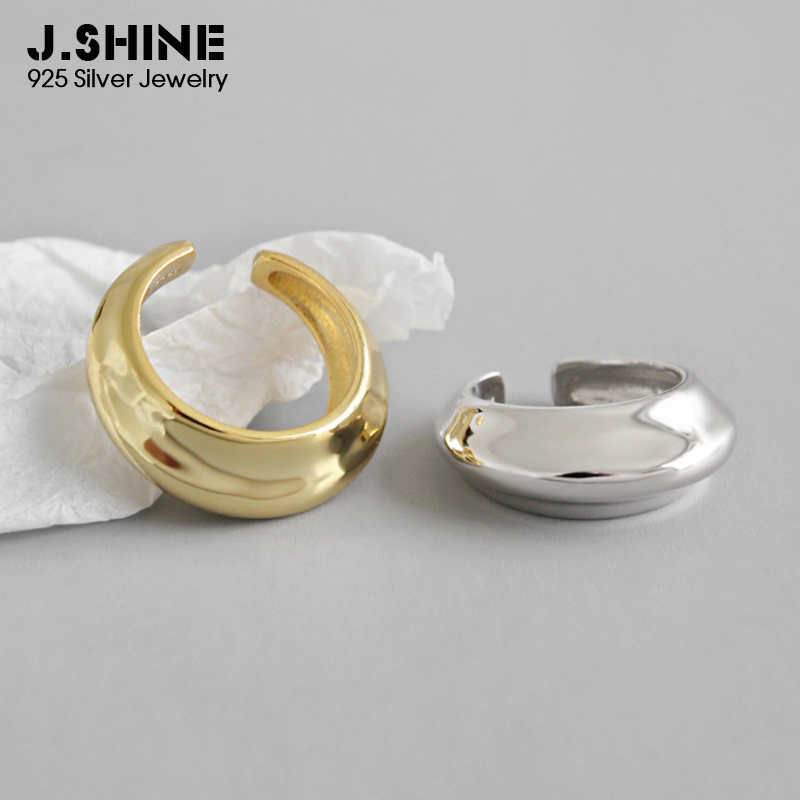 JShine Pure 925 Sterling Silver Rings for Women Uneven Glossy Surface Wide Adjustable Finger Gold Fine Jewelry