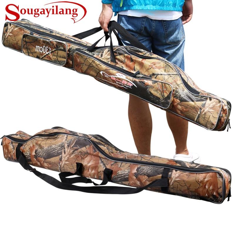 Torba za ribiško palico Sougayilang 130 cm, maskirna, dvoslojna, nepremočljiva, ribiška torba, platna, ribiška torba, nahrbtnik,