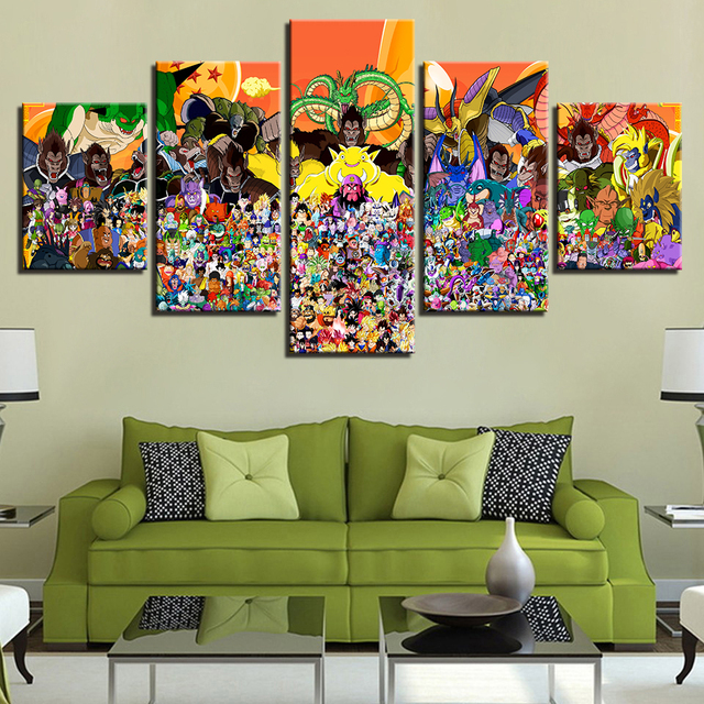 Modular Gambar Lukisan Dekorasi Rumah Untuk Ruang Tamu Kartun Karakter Art Poster 5 Panel Animasi Dragon