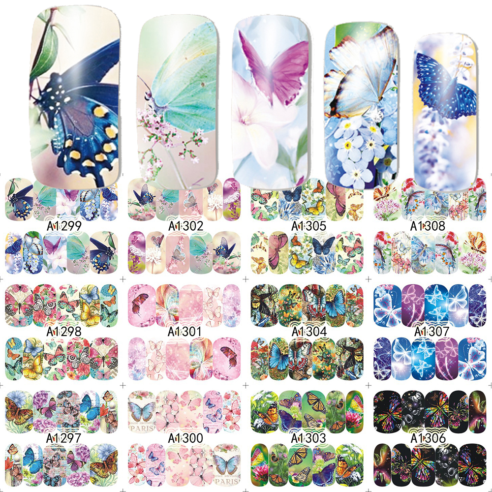 12 Designs/Set  Beauty Butterfly Mixed Designs Full Water Transfer Stickers Nail Art Decal Sticker Nail Accessories SAA1297-1308 nail salon 1sheet summer ocean designs