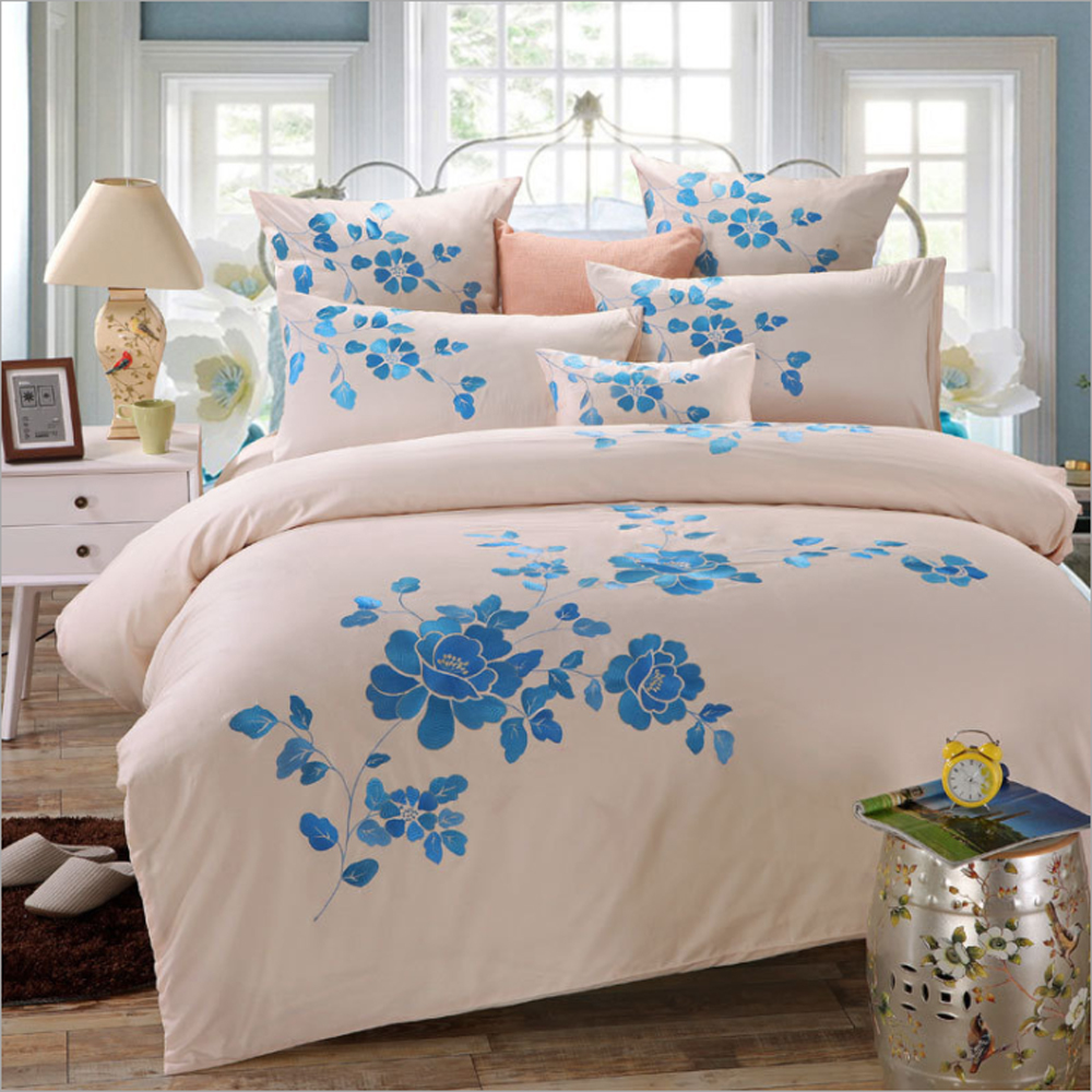 Brazilian embroidery bedspread designs - 100 Cotton Chinese Nation Style Embroidery Blue Flower Duvet Cover Bed Sheet Set Simple Solid