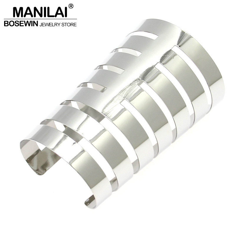 MANILAI Women Large Alloy Opened Cuff Bangles Fashion Party Casual Bracelets Statement Jewelry Pulseiras BL298