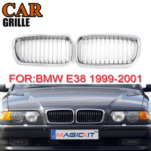 MagicKit Pair Gloss Chrome Car Front Kidney Grilles Grille For BMW 7-Series E38 Sedan 1999-2001 Car Cover Racing Grills drag specialities 2001 0278 chrome fat spotlights pair