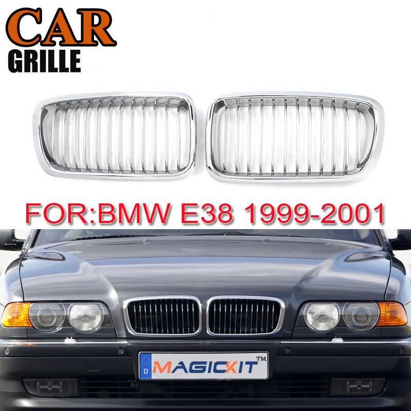 MagicKit Pair Gloss Chrome Car Front Kidney Grilles Grille For <font><b>BMW</b></font> 7-Series <font><b>E38</b></font> Sedan 1999-2001 Car Cover Racing <font><b>Grills</b></font> image