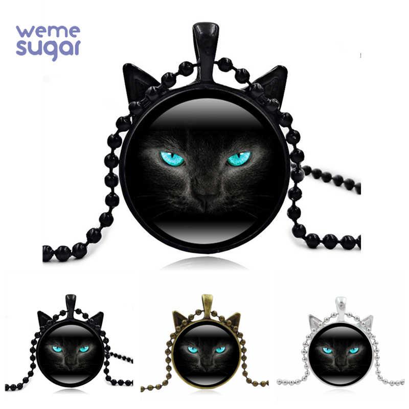 WeMe ретро черное ожерелье с кошкой ювелирные изделия стекло милый кулон зеленые