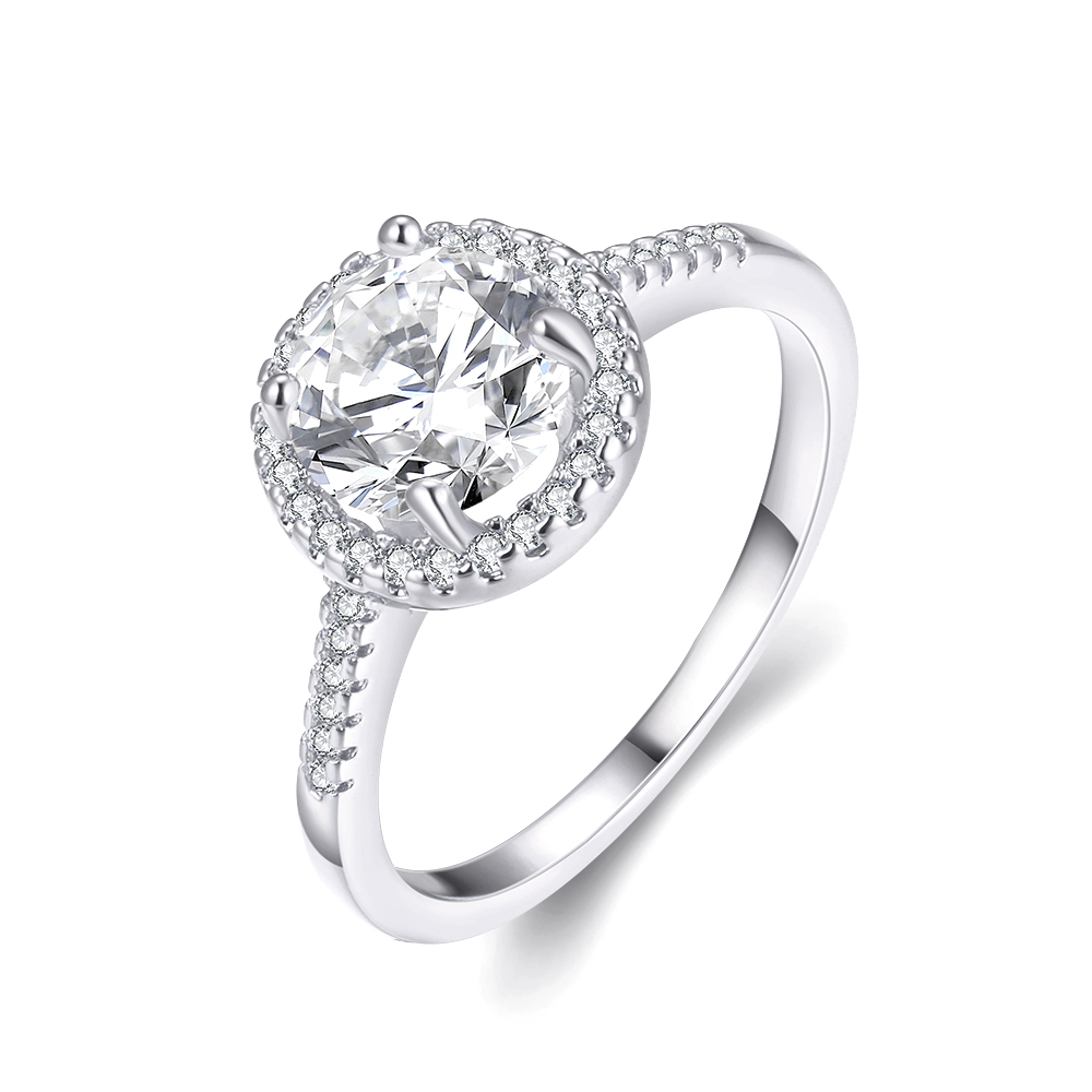 New Gold Color Simple Style Lab Created Diamonds Zircon Fashion Women  Wedding Ring Big Jewelry Engagement