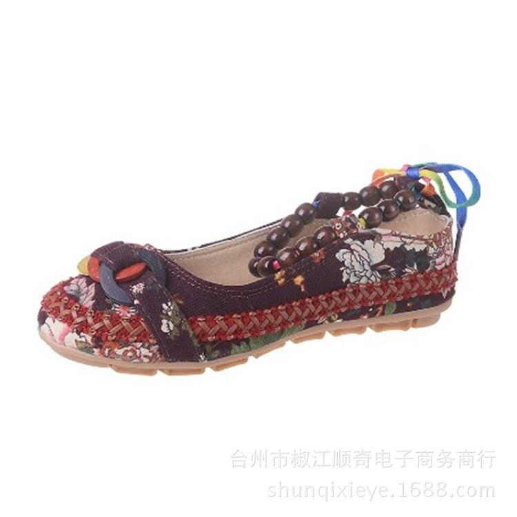La Brodé Perlé Chaussures Ethnique Appartements Taille42 Plus Femmes Bretelles Plates Zapatos Rétro blanc Mujer Shoes126 Cheville Casual Main Mocassins À pourpre Beige noir zwTw0