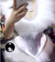 Free Shipping New Feather Dress Led Light Up Clothes Led Illuminated Dress Stage Costumes For Singers
