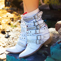 Prova Perfetto Cow Leather Short Boots For Women Inside Wedge Heel Pointed Toe Rivets Belt Buckle Cool Boots Motorcycle Bota