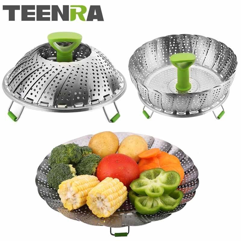 TEENRA 11 Inch Stainless Steel Collapsible Steamer Multifunction Vegetable Fruit Basket Cooking Metal Rack Food Steamer Kitchen