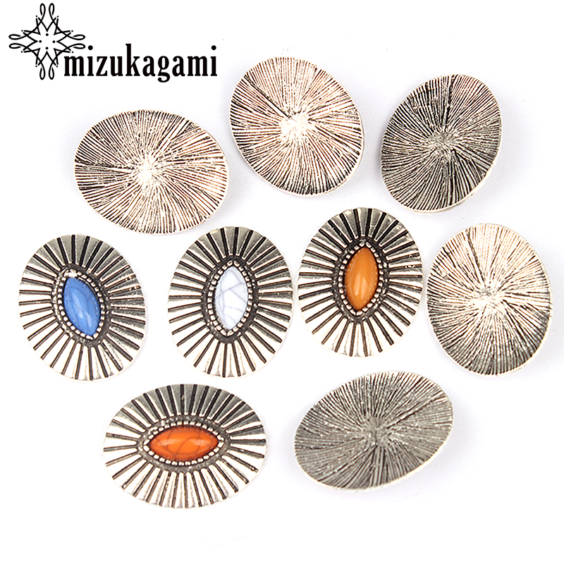 3pcs/lot 33*26MM Retro Zinc Alloy Oval Silver Clothes Decorative Without Loop Buttons Charms For DIY Earrins Jewelry Accessories