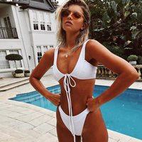 Solid Bikini Brazilian Halter Swimwear Push Up Bikinis Women Strappy Bikini Bandage Swimsuit High Cut Swimwear