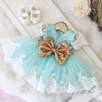 2017 Baby Girls Baptism Gown With Golden Bow Lace Flower Girl Dresses Baby 1 Year Birthday