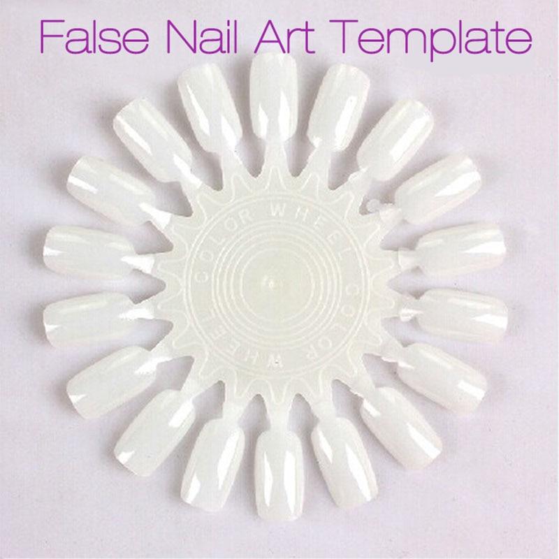6pc White Clear False Nails Display Template Nail Art Glitter