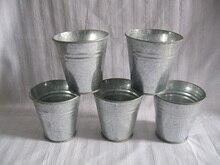 D8.5 * H8.5CM taza de Metal cubo para jardín caja de estaño ollas de hierro macetas balcón maceta de vivero