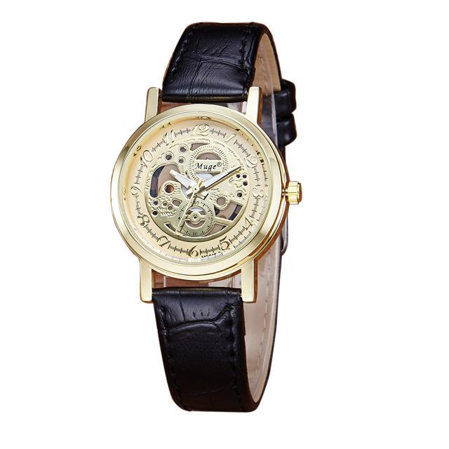 Prix pour Nouveau Design De Luxe Femmes Montres 2017 Marque Célèbre Femme Horloge Squelette Montre-Bracelet Dames En Cuir Quartz-montre Relogio Feminino