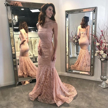 New Mermaid Evening Dress Robe de soriee 2019 Off the Shoulder Floor Length Lace Prom Dresses Formal Gowns