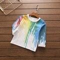 Retail 2017 Nueva tie dye camiseta para niños pintura al óleo camiseta Ocasional Del Verano de harajuku style Top 3-8 años los niños y niñas