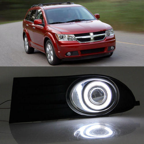 Ownsun Super COB Fog Light Angel Eye Bumper Projector Lens for Dodge Journey 2009-2011 ownsun superb u shape led headlight angel eye projector lens for vw tiguan 2010 2012 model