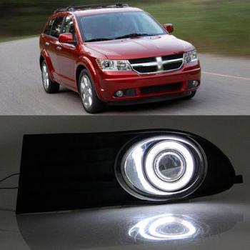 Ownsun Super COB Fog Light Angel Eye Bumper Projector Lens for Dodge Journey 2009-2011