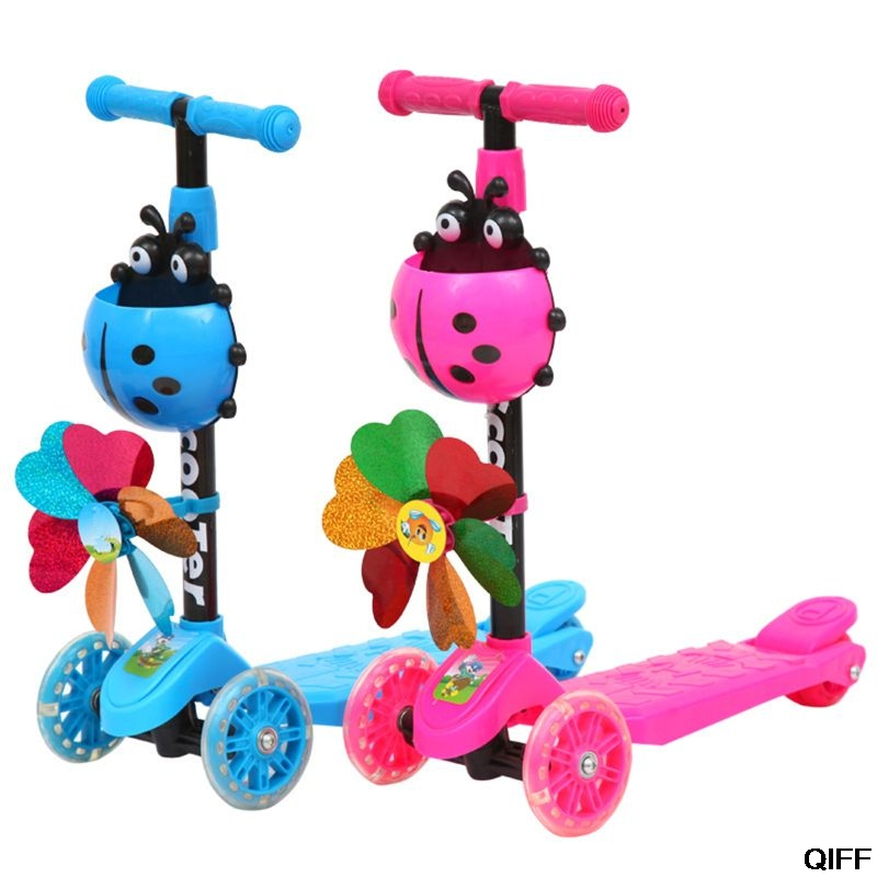 Dropshipping Windmill Ladybug Scooter Foldable And Adjustable Height Lean To Steer 3 Wheel Scooters For Toddler Kids Boys Girls