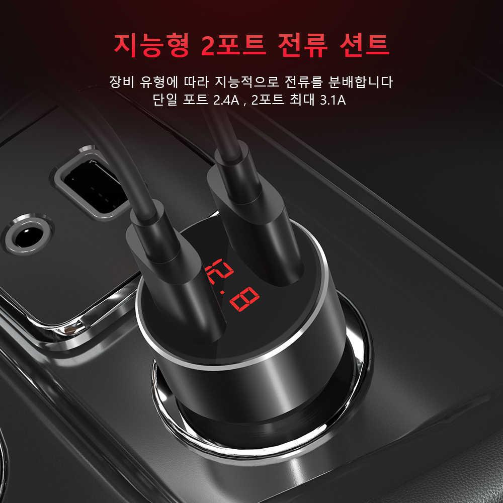 TOPK G209 المزدوج USB LED الجهد/الحالي عرض شاحن سيارة 3.1A ل فون x xs ماكس شحن سريع لل ذاكرة فلاش