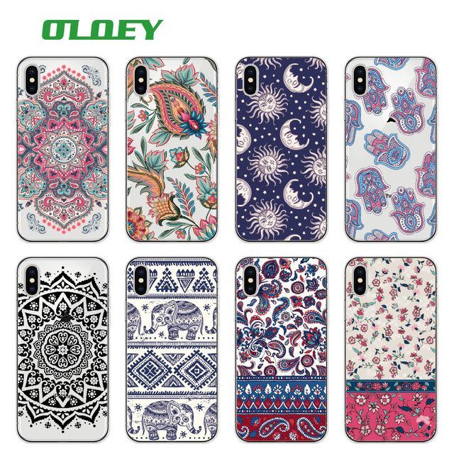 best service 8570d 81616 US $1.33 33% OFF|OLOEY Boho Indian Floral Lotus Elephant Paisley Tribal  Soft Phone Case Coque Fundas For iPhone 7 7Plus 6S 8 8PLUS X -in Fitted  Cases ...