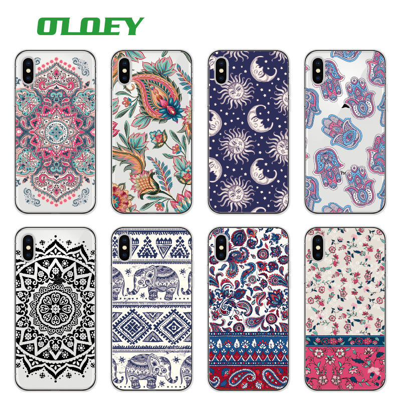 OLOEY Boho Indian Floral Lotus Elephant Paisley Tribal Soft Phone Case Coque Fundas For iPhone 7 7Plus 6 6S 6Plus 8 8PLUS X ...