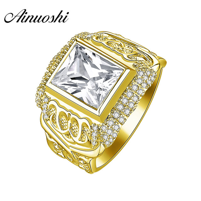 a76543d53a AINUOSHI Luxurious 10K Solid Yellow Gold Men Ring 8.7g Wedding Band 3CT  Rectangle Cut SONA Diamond Ring Men's Wedding Jewelry