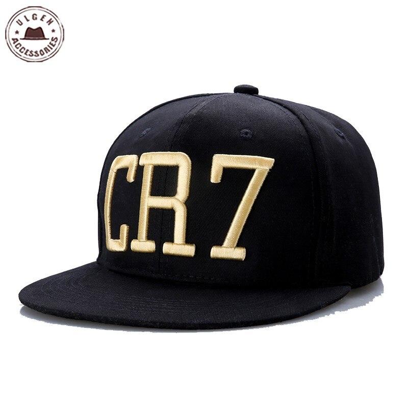 New Cristiano Ronaldo CR7 Black Baseball Caps hip hop Snapback hat unisex  flat brim hats adjustable 12e47904b60