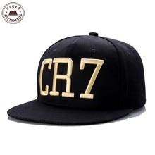 New Cristiano Ronaldo CR7 Black Baseball Caps hip hop Snapback hat unisex flat  brim hats adjustable e817db6e5ae