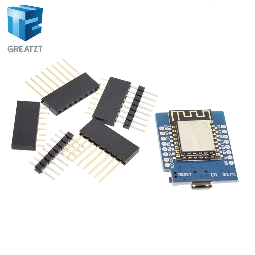 GREATZT 1PCS D1 mini  - Mini NodeMcu 4M bytes Lua WIFI Internet of Things development board based ESP8266 by WeMos wemos d1 esp wroom 02 esp8266 nodemcu wifi module with 18650 battery charging