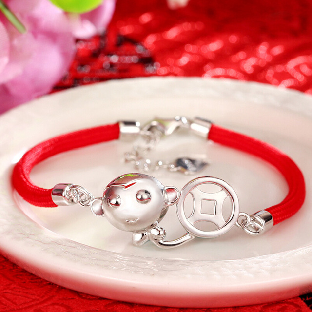 925 SilverMale And Female Lunar New Year Monkey Jewelry Monkey Red Rope Bracelet