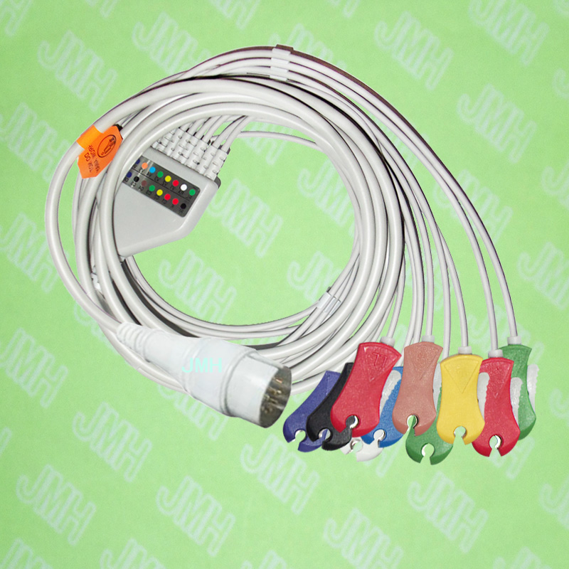 лучшая цена Compatible with 11 PIN Fukuda FX-031 EKG patient monitor Machine the One-piece 10 leads ECG cable and clip leadwires,IEC or AHA.