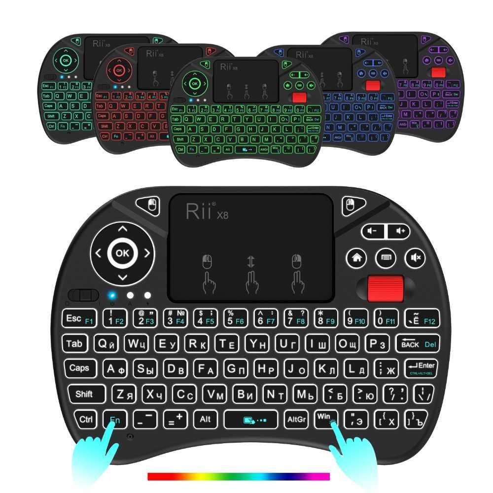 Оригинал Rii X8 2,4G мини русская беспроводная клавиатура с тачпадом, сменный СВЕТОДИОДНЫЙ Цветной подсветкой, литий-ионный аккумулятор для ТВ-бокса, ПК