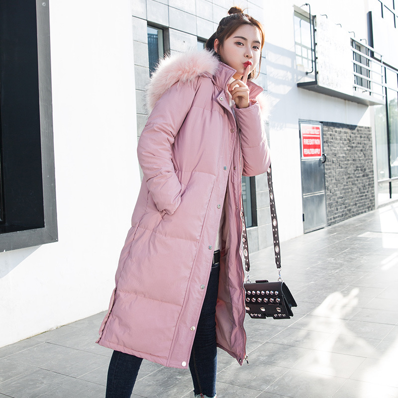 2017New Fashion Winter Parkas Hooded Big Fur Collar Jacket Cotton Padded Long Button Warm Thick Loose Bread Coat Female Outwear women winter coat leisure big yards hooded fur collar jacket thick warm cotton parkas new style female students overcoat ok238