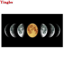 Full Drill Square Diamond embroidery Eclipse of The Moon scenery Diamond painting Full Round Cross stitch 5D DIY Diamond mosaic(China)