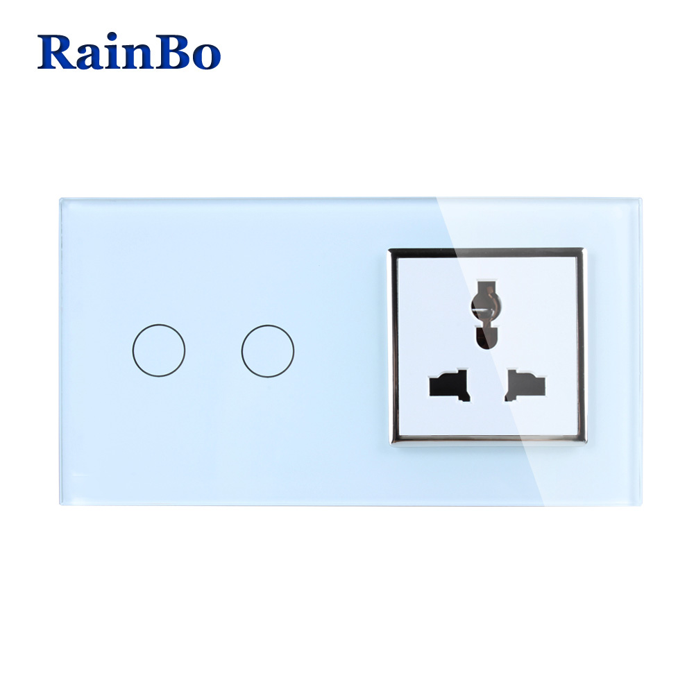 RainBo Luxury Touch Screen Control Tempered Crystal Glass Panel Wall Light Home Touch Switch Multi-function Socket A29218MUCW/B atlantic switch tempered glass phone tv socket model luxury crystal glass panel weak current socket telephone television outlet