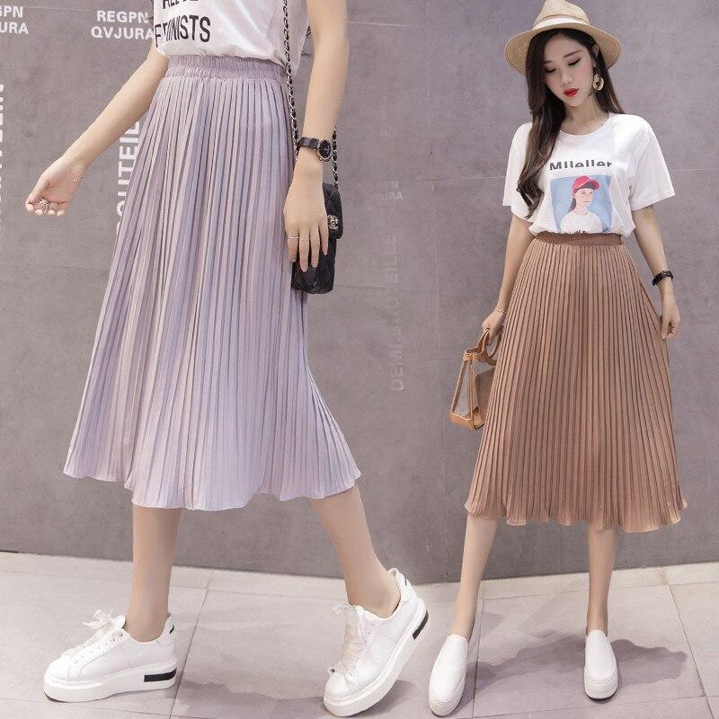 02b6bbc86f6 Купить Женская шифоновая юбка летние тонкие однотонные плиссированные юбки  Повседневные женские s Saias Midi Faldas винтажные элегантные женские миди  юб.